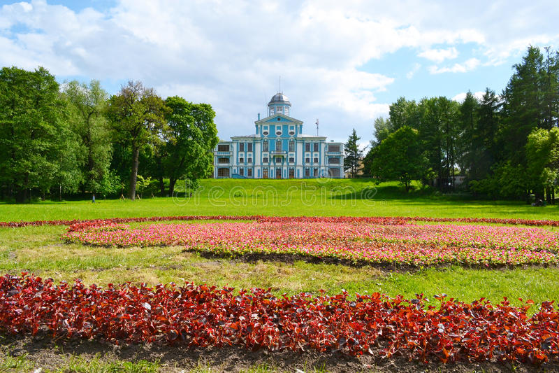 Vorontsov palace or Novoznamenka and park, St.Petersburg. Vorontsov palace or Novoznamenka and park at the Peterhof road near St. Petersburg, Russia stock photo