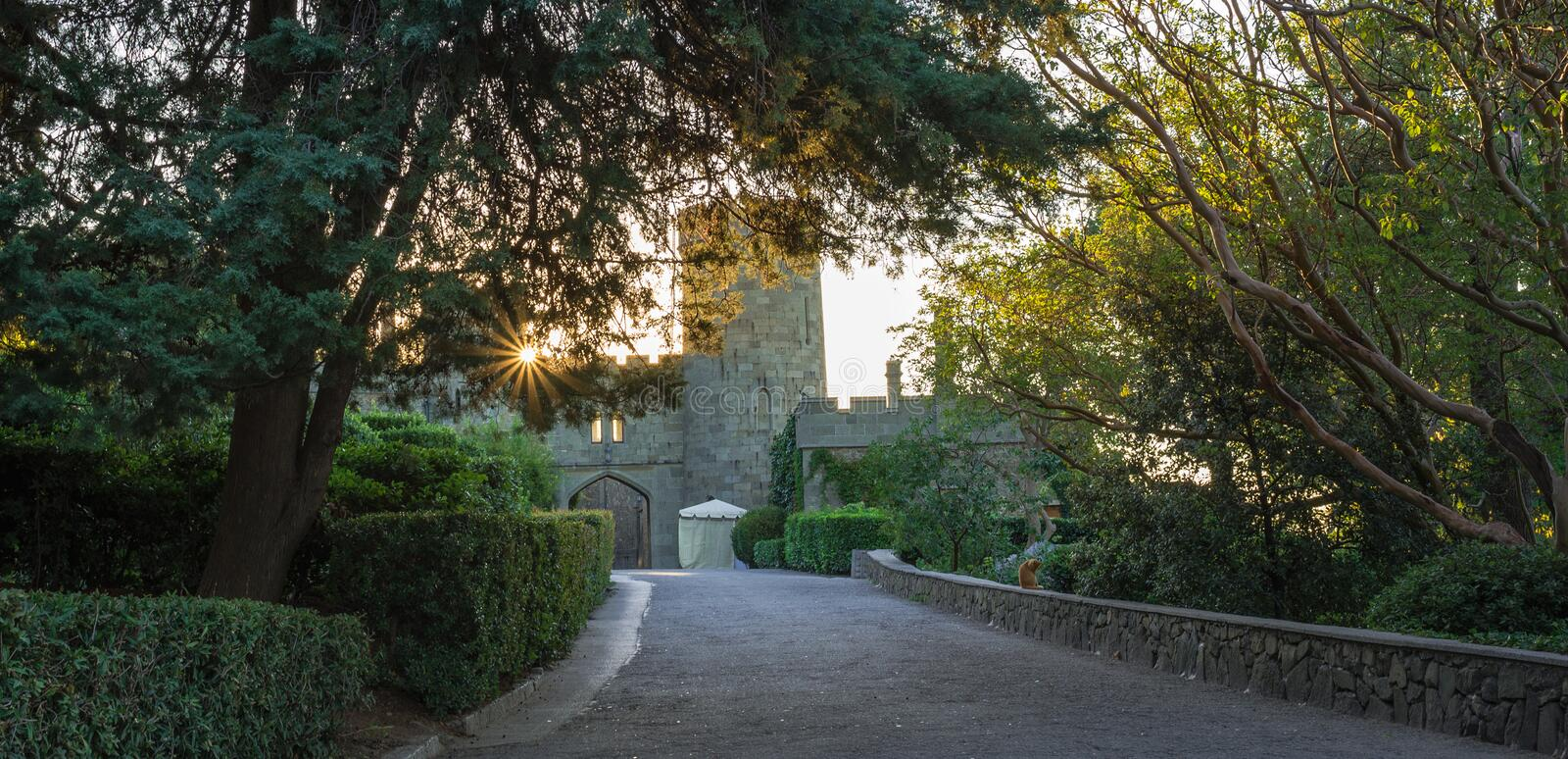 Vorontsov palace park, Alupka, Crimea. Turret and fortress wall with gate. Sundown, sun shines through the green foliage, cropped bushes. Scottish Baronial royalty free stock image