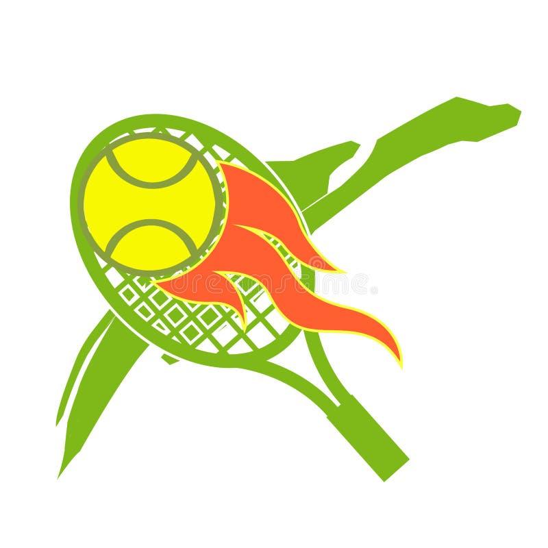 Vorrat-Illustrations-Zusammenfassungs-Tennis-Logo lizenzfreie abbildung