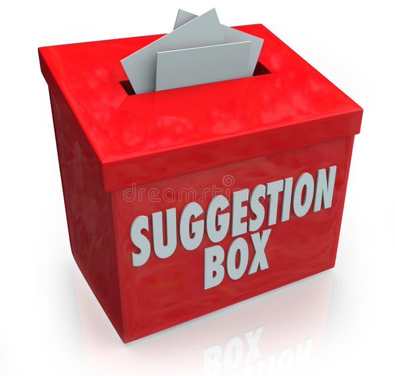 Vorschlags-Kasten-Ideen-Unterordnungs-Kommentare lizenzfreie abbildung