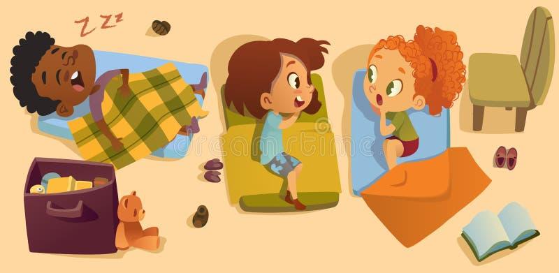 Vorschulschlaf-Zeit-Baby-Vektor-Illustration Kindergarten-gemischtrassige Kinderschlafenszeit, Freundin-Klatsch afrikanisch lizenzfreie abbildung