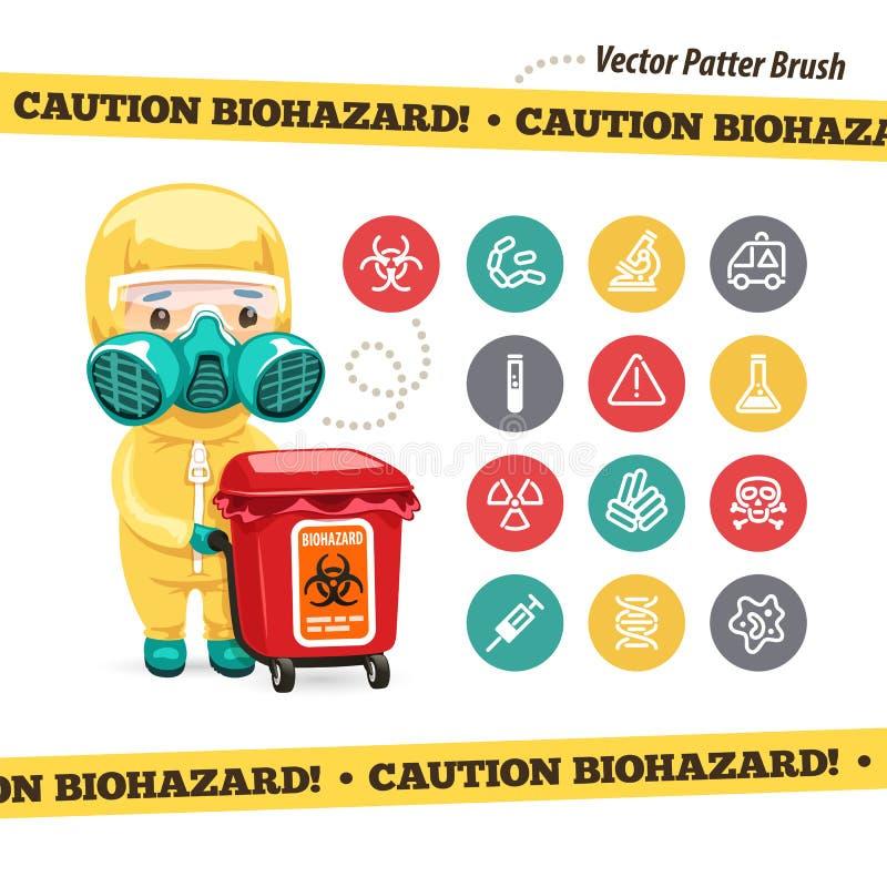 Vorsicht Biohazard-Ikonen und Doktor mit Rot stock abbildung