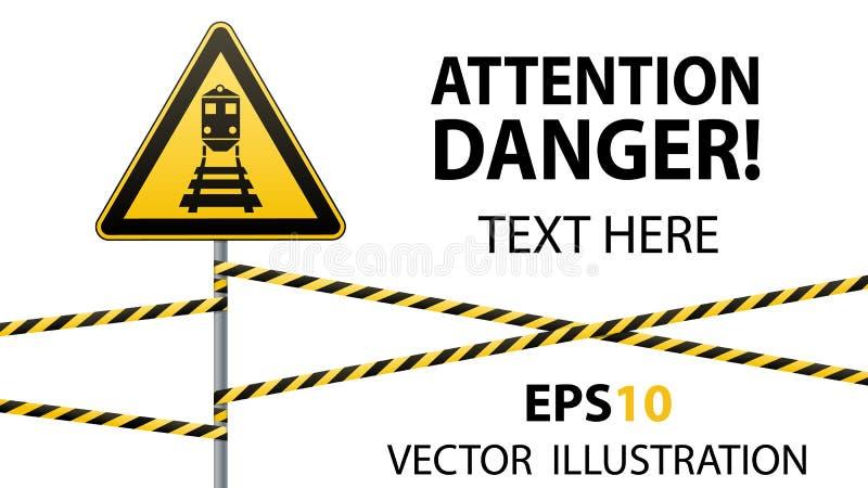 Vorsicht - Gefahrenwarnzeichensicherheit Passen Sie vom Zug auf gelbes Dreieck mit schwarzem Bild Zeichen auf Pfosten und schütze vektor abbildung