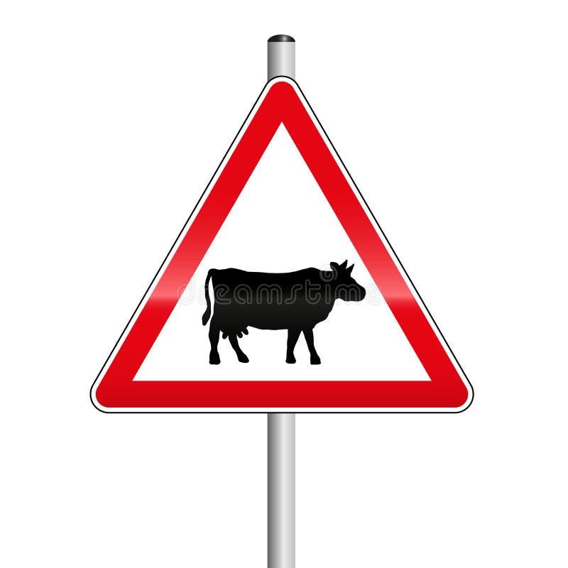 Vorsicht-Kuh-Rinderherde-Überfahrt-Straßenschild stock abbildung