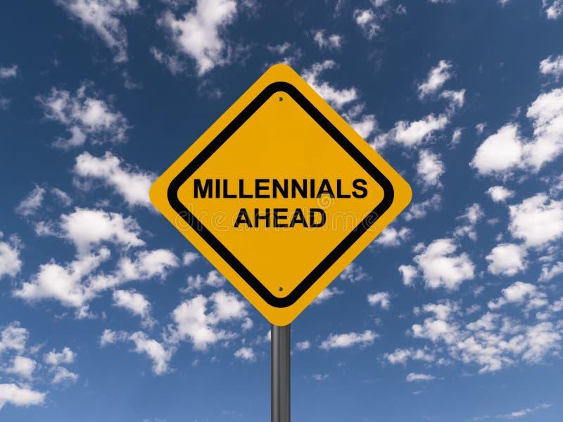 Vorsicht millennials voran stock abbildung