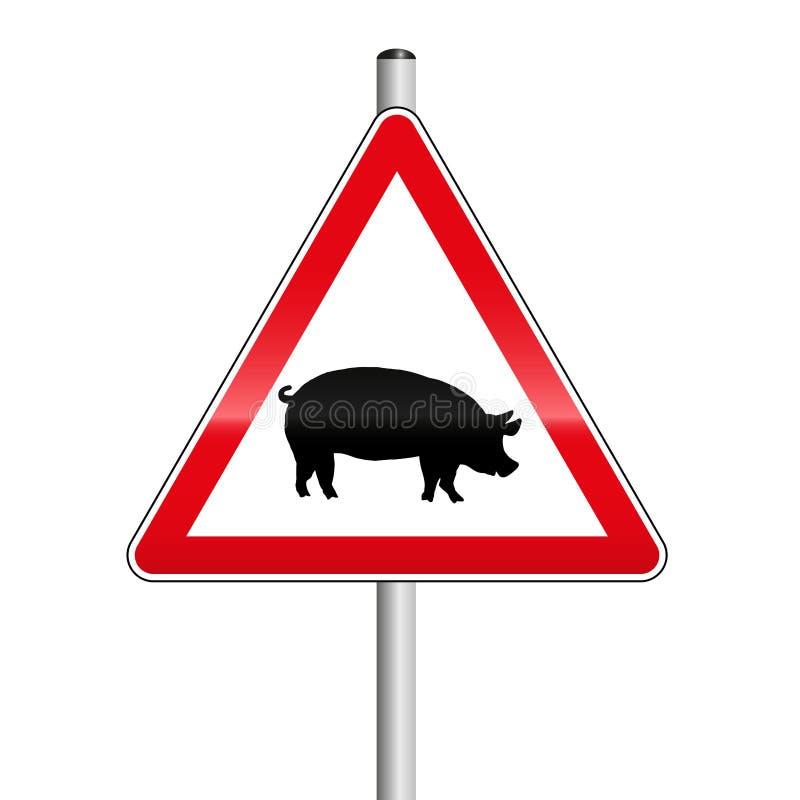 Vorsicht-Schwein-Überfahrt-Straßenschild stock abbildung