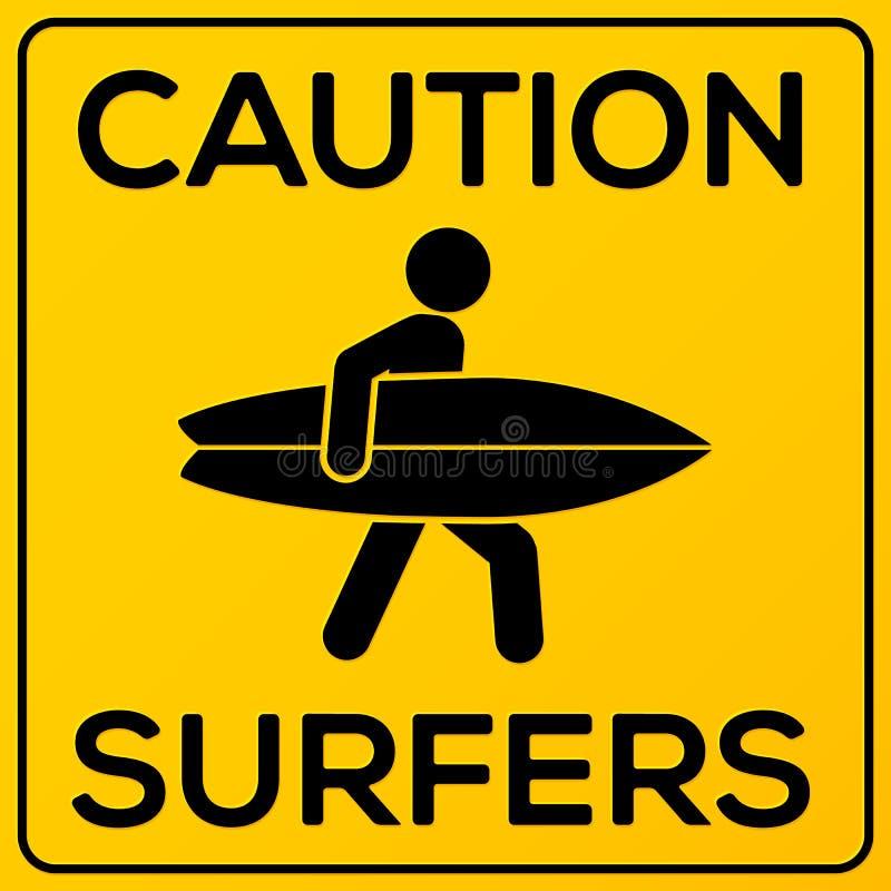 Vorsichtzeichen des gelben und schwarzen Quadrats mit Surfer stock abbildung