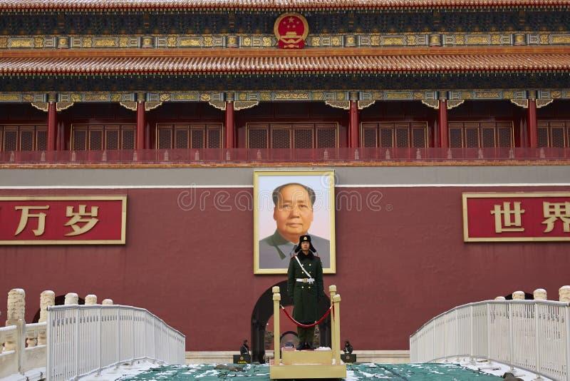 Vorsitzend-Mao Zedong-Porträtbild und sicherer Schutz lizenzfreies stockbild