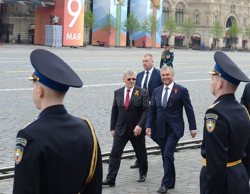 Vorsitzender der Staatsduma des Bundeszusammenbaus der Russischen Föderation Vyacheslav Volodin und des Verfolgers General Yuri C stockfoto