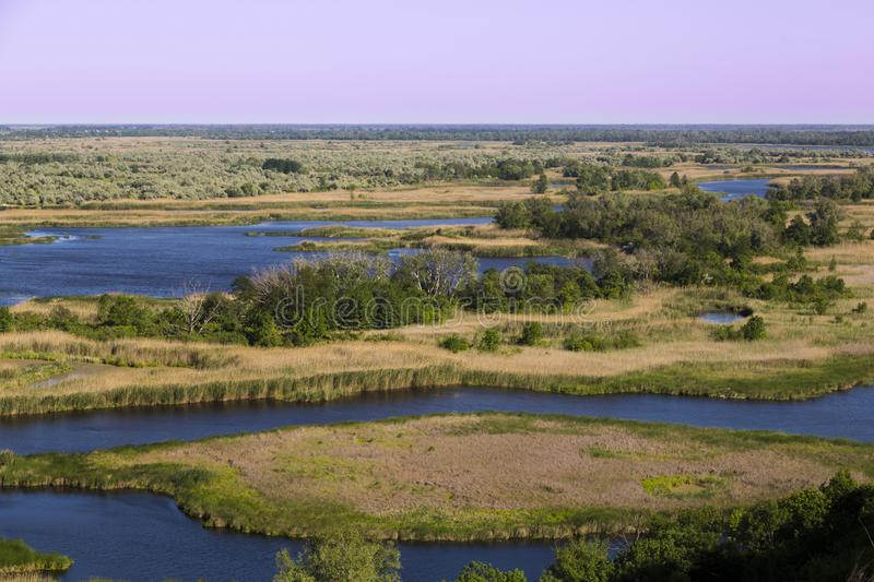 Bottom land of Vorskla river . Top view. Ukraine. Europe royalty free stock photography
