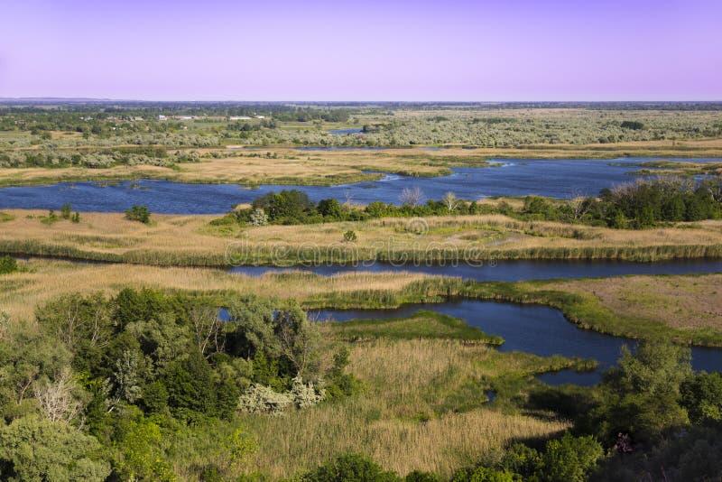 Bottomland of Vorskla river . Top view. Ukraine. Europe stock photos