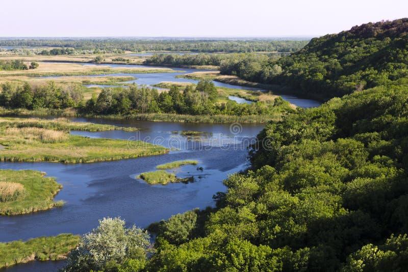 Vorskla river delta . Top view. Ukraine. Europe royalty free stock photography