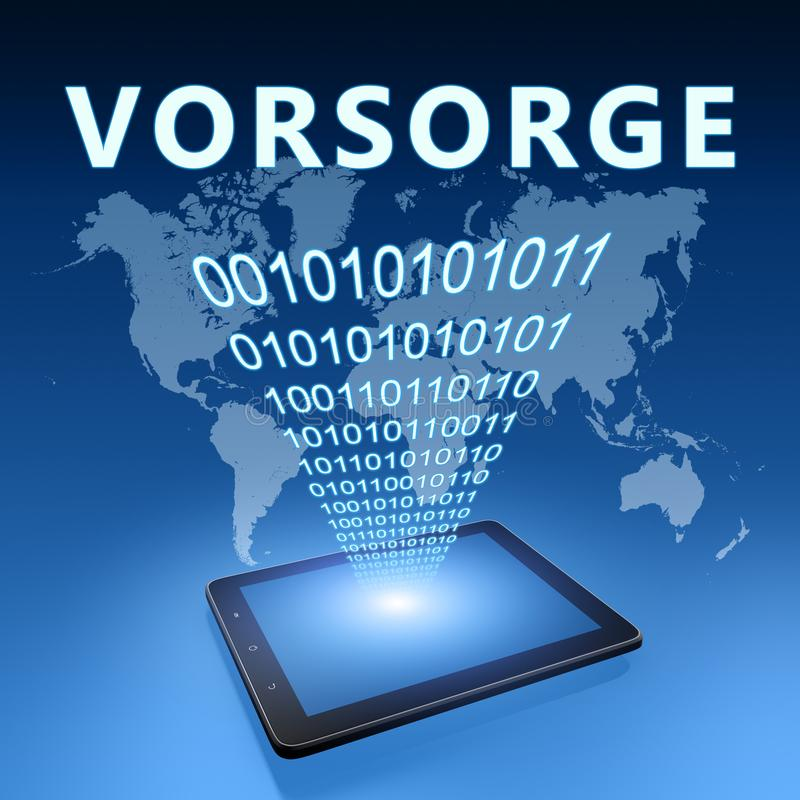 Vorsorge. German word for precaution or provision - text with tablet computer on blue digital world map background. 3D Render Illustration, prevention stock illustration
