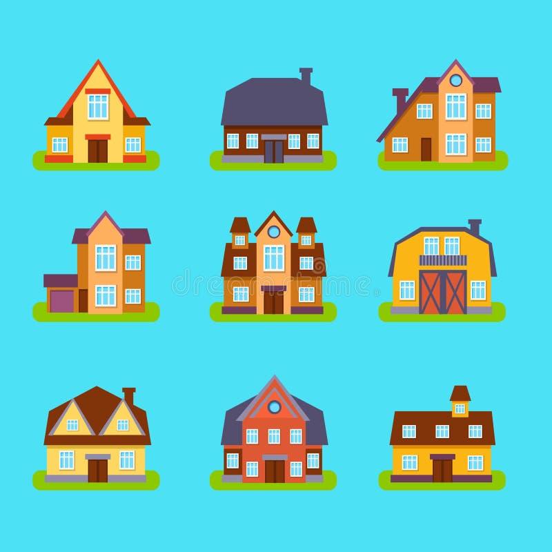 Vorstadt-Real Estate-Häuser eingestellt lizenzfreie abbildung