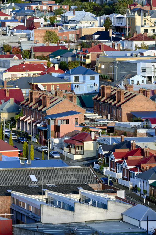 Vorstadthäuser, Hobart, Tasmanien, Australien stockbild