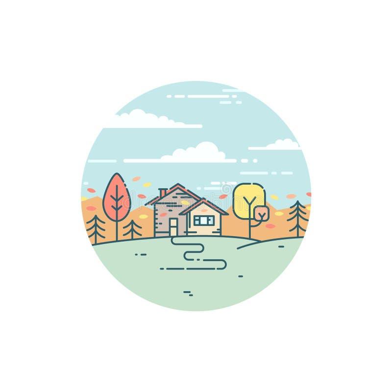 Vorstadthaus im Herbst lizenzfreie abbildung