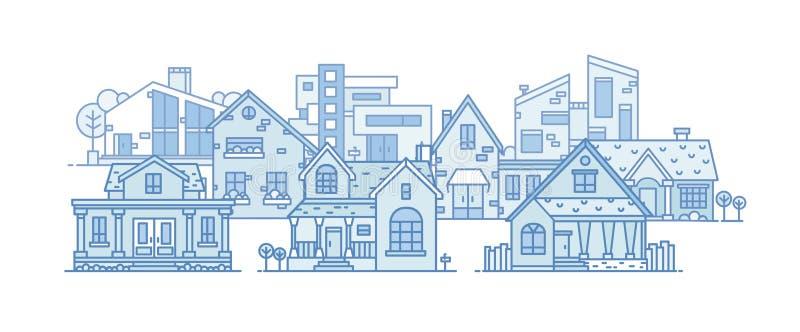 Vorstadtlandschaft mit den verschiedenen Stadtgebäuden errichtet im unterschiedlichen Baustil Stadtbild mit Wohnhäusern vektor abbildung