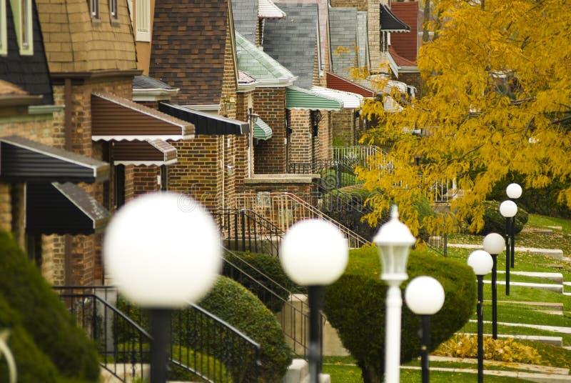 Vorstadtnachbarschaft in der Südseite von Chicago lizenzfreies stockbild