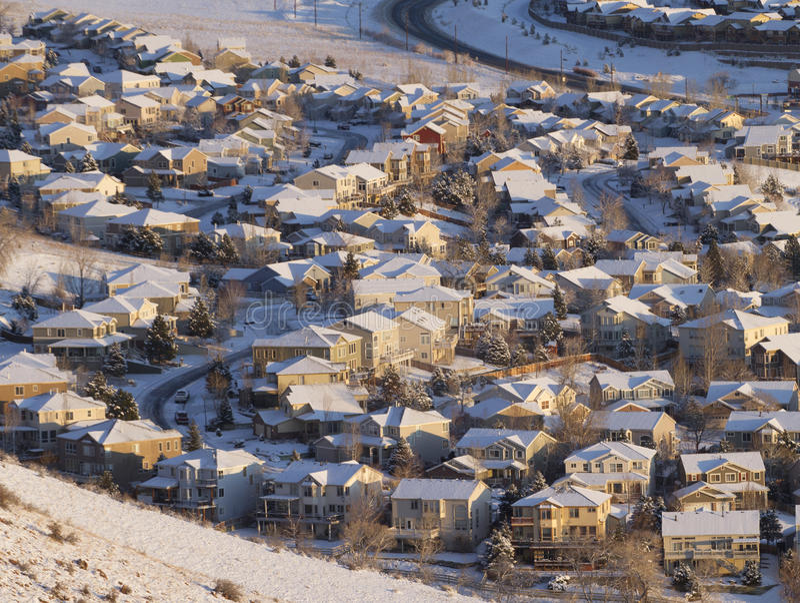 Vorstadtnachbarschaft von oben stockfotos