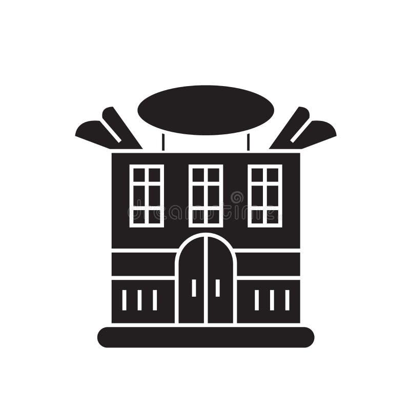 Vorstehende Hausschwarzvektor-Konzeptikone Flache Illustration des vorstehenden Hauses, Zeichen lizenzfreie abbildung