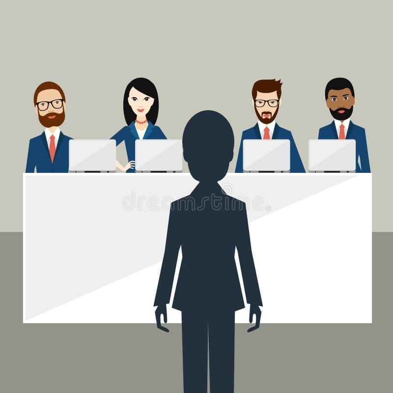 Vorstellungsgespräch im Büro Offiziere und Kandidat vektor abbildung