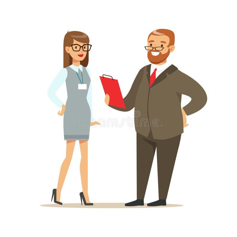 Vorstellungsgespräch mit Manager im Büro Bunte Zeichentrickfilm-Figur-Vektor Illustration stock abbildung