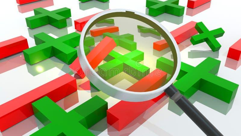 Vorteile Nachteile plus Minus zoom len mangify analyse - 3D Rendering stock abbildung
