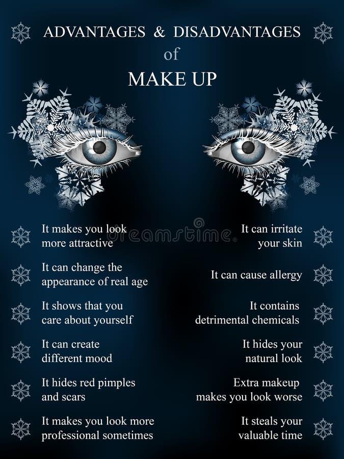 Vorteile und Nachteile des Makes-up, Winterblau stock abbildung