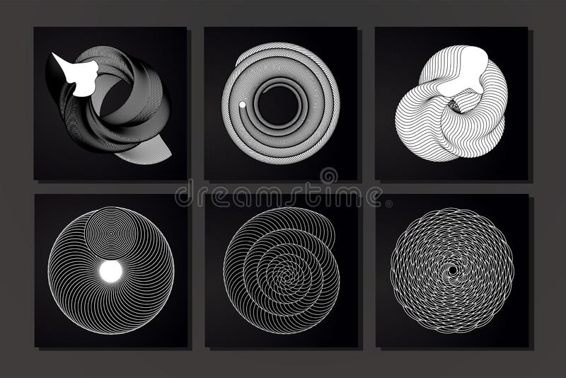 Vortex abstarct kreskowi kształty Pokrywa ustawiająca z minimalną grafiką Czarny i biały futurystyczni tła z giloszują royalty ilustracja
