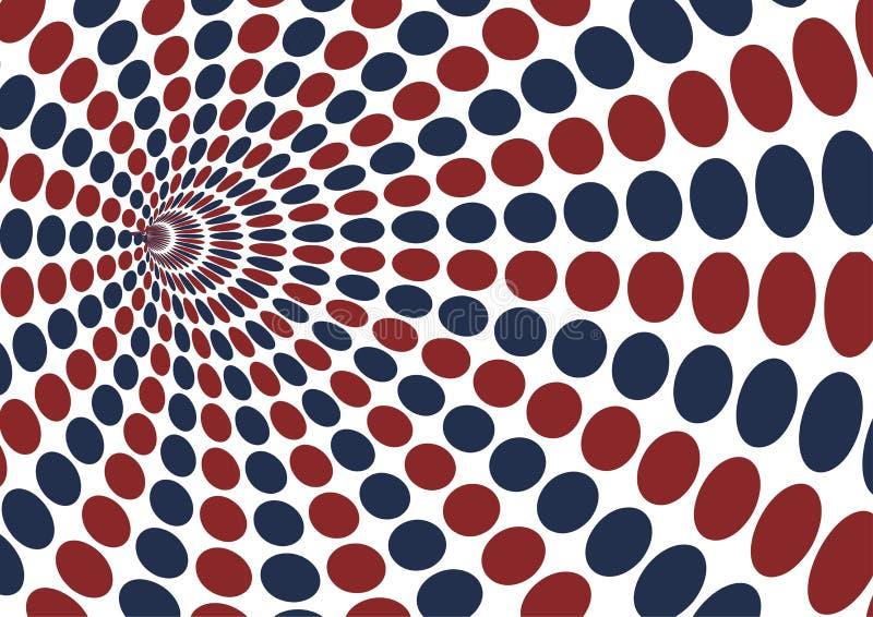 Vortex abstrait avec le modèle de point rouge et bleu d'ellipse sur b blanc illustration de vecteur