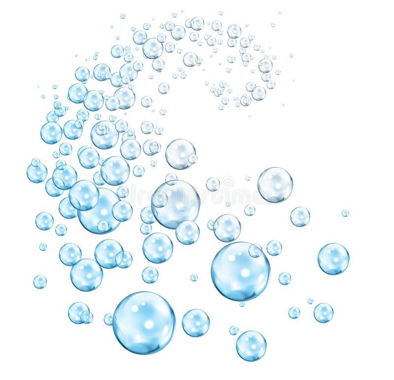 Vortex of bubbles blue cyan stock illustration