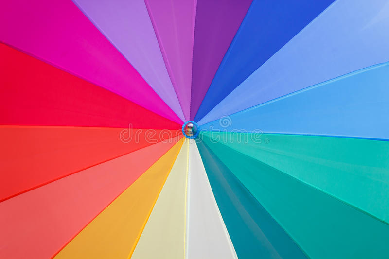 Vortex of colours. Multicoloured wedges umbrella seem a vortex of colours royalty free stock photo