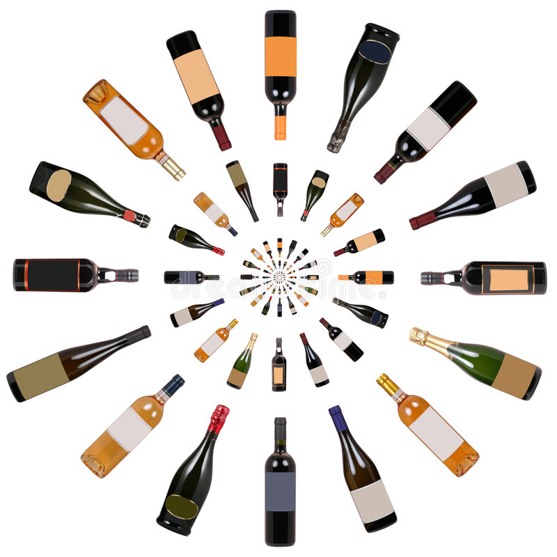 Vortex de bouteilles de vin photo stock
