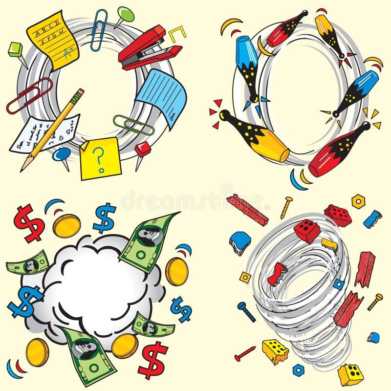 Vortex de roda inspirado banda desenhada ilustração do vetor