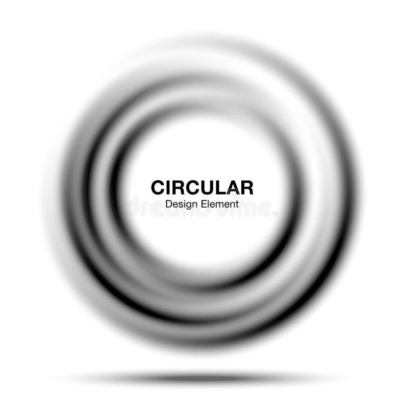Vortex gradient round banner. Abstract gray swirl circle frame. Circular translucent gradient frame. Vector illustration royalty free illustration