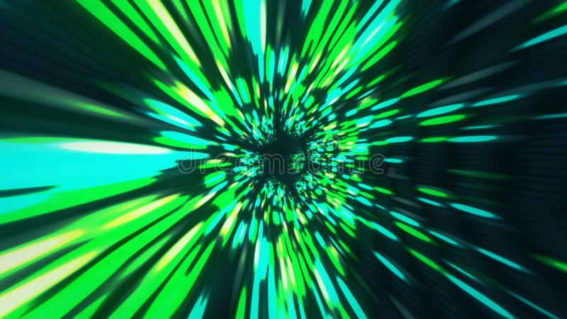 Vortex hyperspace tunnel wormhole time and space, warp science fiction Background 3D Animation royalty free illustration