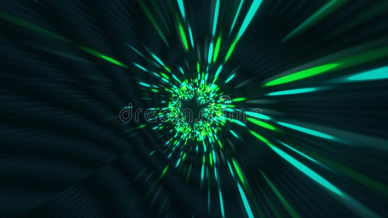 Vortex hyperspace tunnel wormhole time and space, warp science fiction Background 3D Animation vector illustration