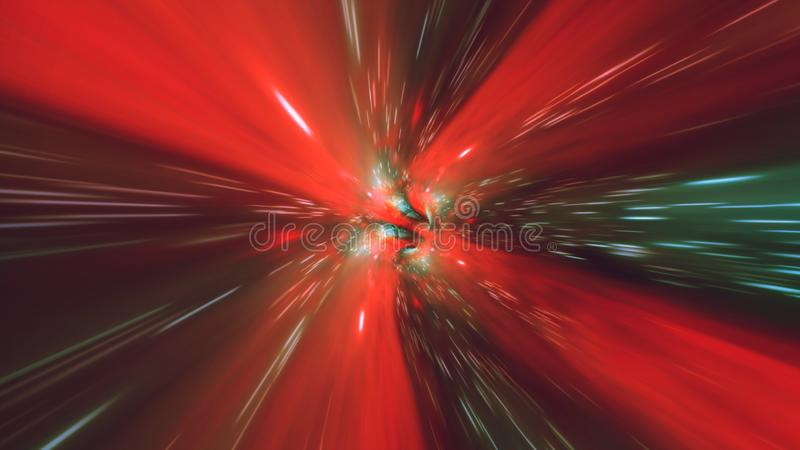 Vortex hyperspace tunnel wormhole time and space, warp science fiction Background 3D Animation stock illustration