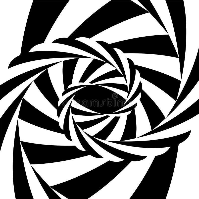 Vortex rayé noir et blanc convergeant au centre Illusion optique de profondeur et de volume illustration libre de droits