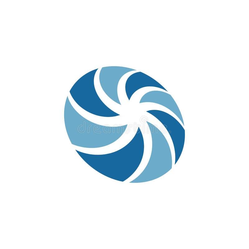 Vortex vector illustration icon. Logo Template design spiral tornado hurricane swirl abstract circle water background symbol shape motion cyclone blue circular vector illustration