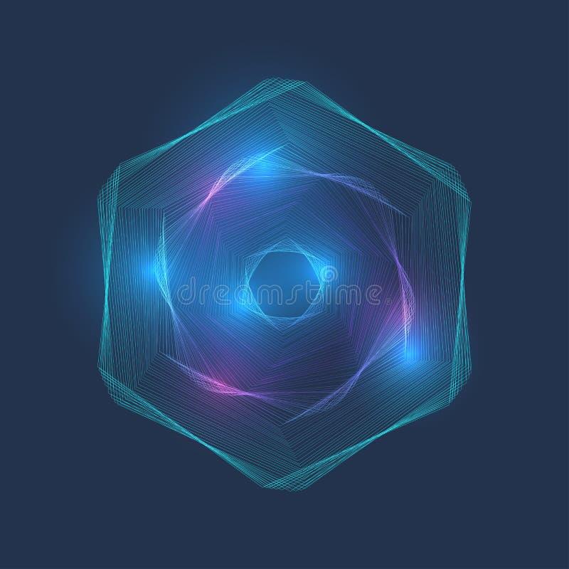 Vortice della sfortuna della particella, punto, punteggiato, linee collegamento, sfera digitale tridimensionale Esagono del colle royalty illustrazione gratis