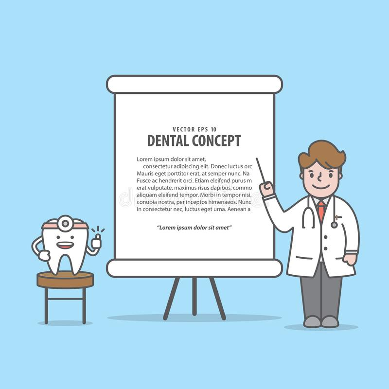 Vortrag mit Zahn- u. Doktorcharakterillustration Vektor auf Querstation lizenzfreie abbildung