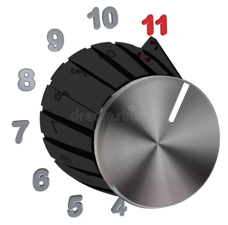 Vorwahlknopf-Knopf gedreht zu maximalem - Zahl-Stufe 11 stock abbildung