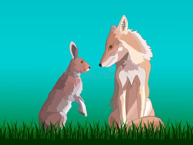 Vos en hazenzitting op het gras stock illustratie
