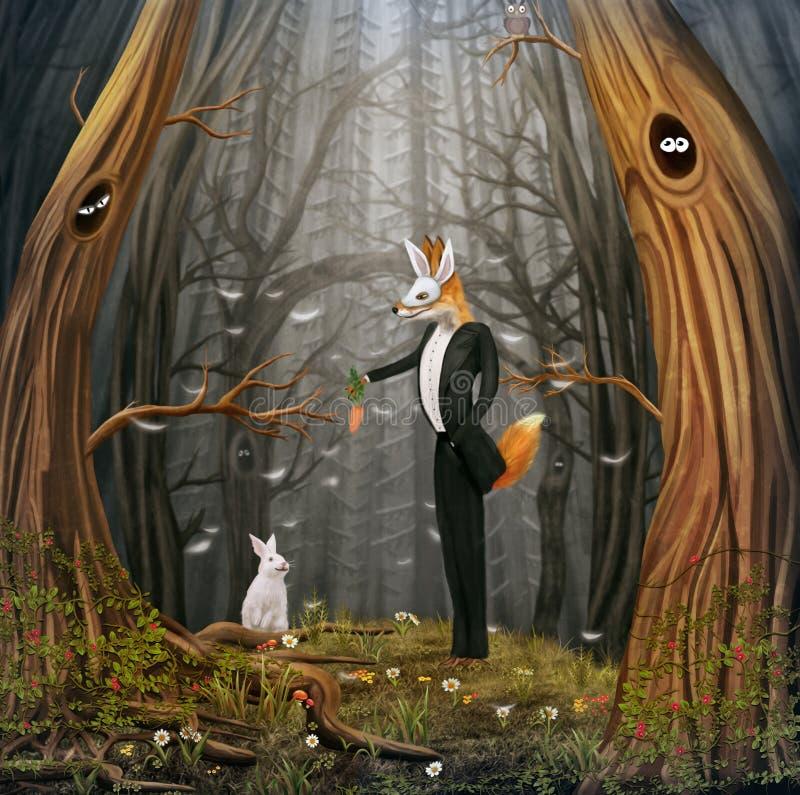 Vos en konijn royalty-vrije illustratie