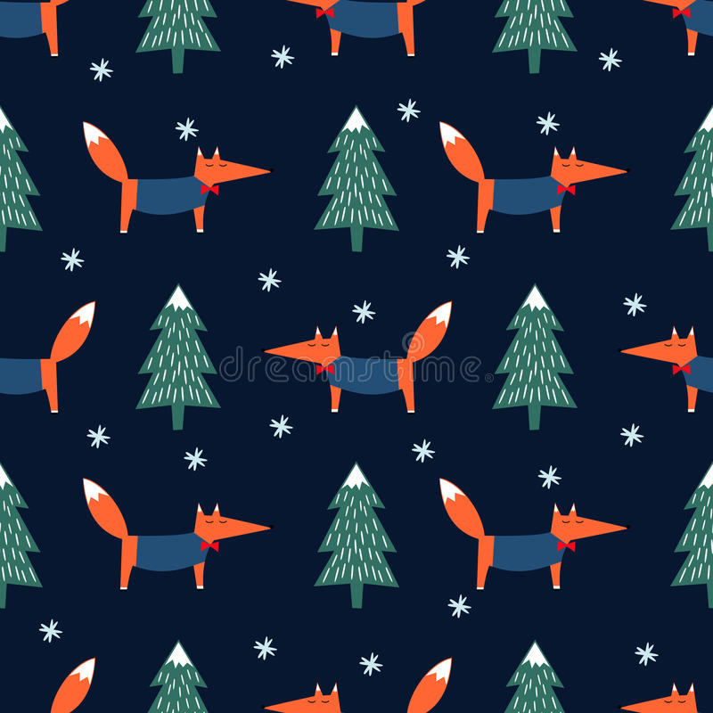 Vos, Kerstmisboom en sneeuwvlok naadloos patroon op blauwe achtergrond stock illustratie