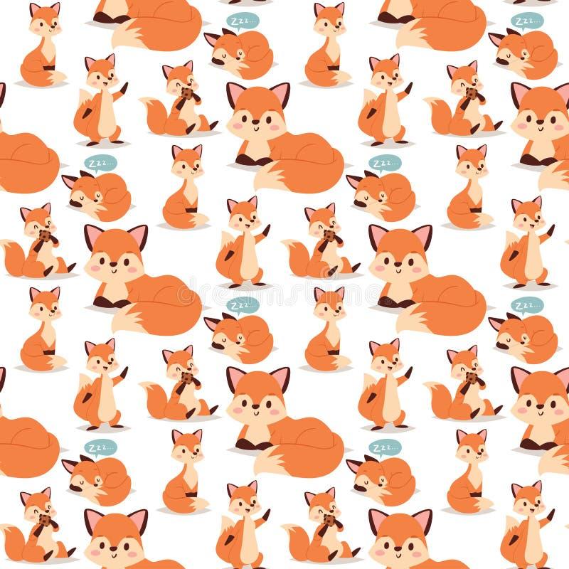Voskarakter die de verschillende rode foxy leuke aanbiddelijke staart van de activiteiten grappige gelukkige aard en het wild ora vector illustratie