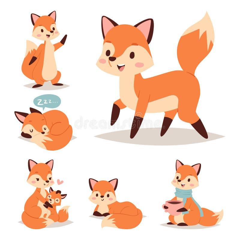 Voskarakter die verschillende foxy rode de staart en het wild oranje bos dierlijke stijl doen van de activiteiten grappige gelukk vector illustratie