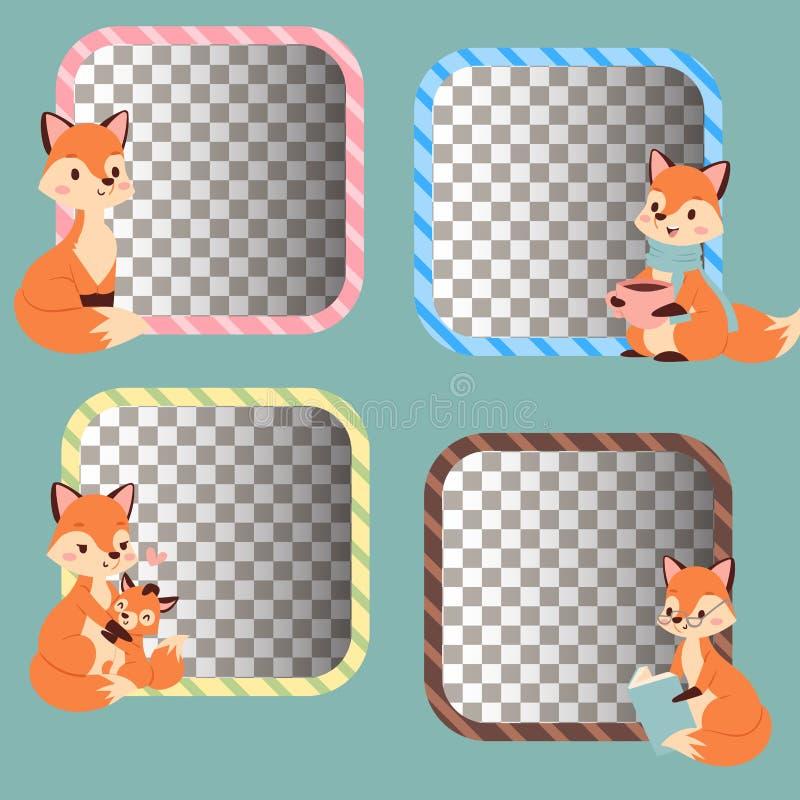Voskarakter die verschillende foxy rode de staart en het wild oranje bos dierlijke stijl doen van de activiteiten grappige gelukk royalty-vrije illustratie