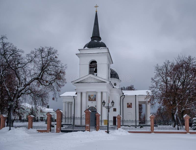 Voskresenska kyrka i snö royaltyfria foton